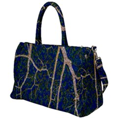 Green Leaves Blue Background Night Duffel Travel Bag