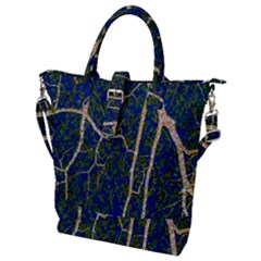 Green Leaves Blue Background Night Buckle Top Tote Bag