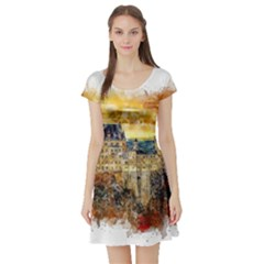 Architecture Castle Fairy Castle Short Sleeve Skater Dress by Nexatart
