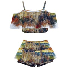 Architecture Castle Fairy Castle Kids  Off Shoulder Skirt Bikini