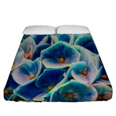 Hydrangeas Blossom Bloom Blue Fitted Sheet (california King Size)
