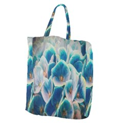 Hydrangeas Blossom Bloom Blue Giant Grocery Tote