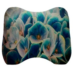 Hydrangeas Blossom Bloom Blue Velour Head Support Cushion by Nexatart