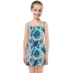 Hydrangeas Blossom Bloom Blue Kids Summer Sun Dress