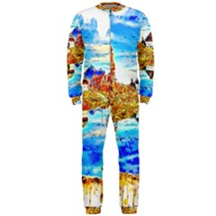 Lake Chalet Mountain Art Onepiece Jumpsuit (men)
