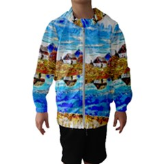 Lake Chalet Mountain Art Hooded Windbreaker (kids)