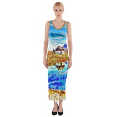 Lake Chalet Mountain Art Fitted Maxi Dress