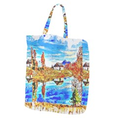 Lake Chalet Mountain Art Giant Grocery Tote