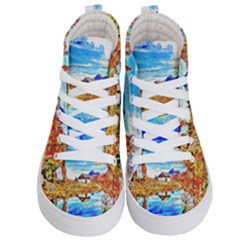 Lake Chalet Mountain Art Kid s Hi Top Skate Sneakers