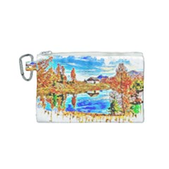 Lake Chalet Mountain Art Canvas Cosmetic Bag (small)
