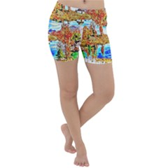Lake Chalet Mountain Art Lightweight Velour Yoga Shorts
