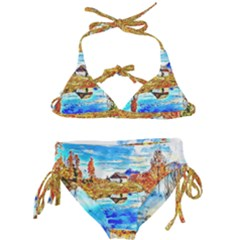 Lake Chalet Mountain Art Kids  Classic Bikini Set