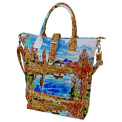 Lake Chalet Mountain Art Buckle Top Tote Bag