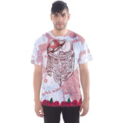 Light Coral Organs & Roses Pattern Men s Sports Mesh Tee by PattyVilleDesigns