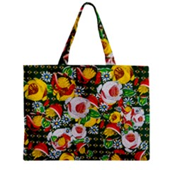 Canal Flowers Pattern Chaos Green Small Zipper Mini Tote Bag by bywhacky