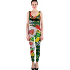 Canal Flowers Pattern Chaos Green Small One Piece Catsuit