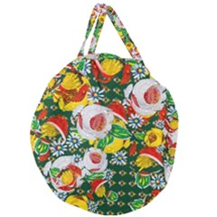 Canal Flowers Pattern Chaos Green Small Giant Round Zipper Tote by bywhacky