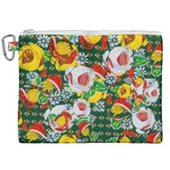 Canal Flowers Pattern Chaos Green Small Canvas Cosmetic Bag (xxl) by bywhacky