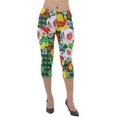 Canal Flowers Pattern Chaos Green Small Lightweight Velour Capri Leggings  by designbywhacky