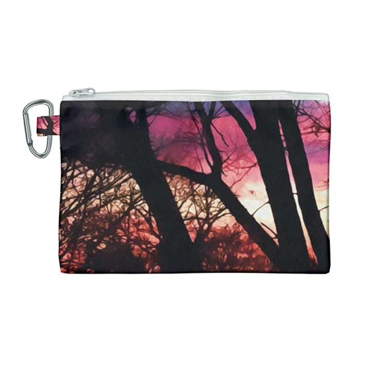 Fall Sunset Through The Trees Canvas Cosmetic Bag (Large)