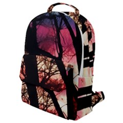 Fall Sunset Through The Trees Flap Pocket Backpack (small)