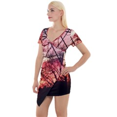 October Sunset Short Sleeve Asymmetric Mini Dress by bloomingvinedesign