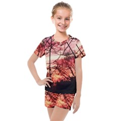 October Sunset Kids  Mesh Tee And Shorts Set