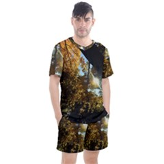 Fall Yellow Swirly Sunlight Men s Mesh Tee And Shorts Set
