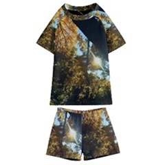 Fall Yellow Swirly Sunlight Kids  Swim Tee And Shorts Set by bloomingvinedesign