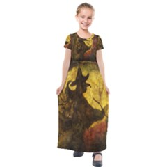 Witch On Moon Kids  Short Sleeve Maxi Dress