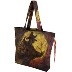 Witch On Moon Drawstring Tote Bag
