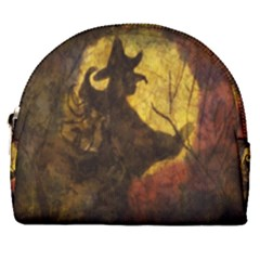 Witch On Moon Horseshoe Style Canvas Pouch