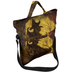 Witch On Moon Fold Over Handle Tote Bag