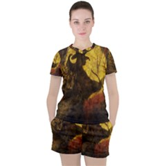 Witch On Moon Women s Tee And Shorts Set