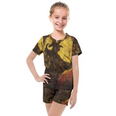 Witch On Moon Kids  Mesh Tee And Shorts Set