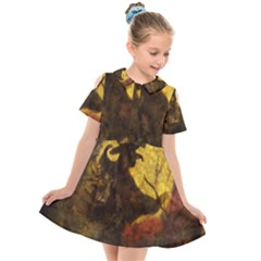 Witch On Moon Kids  Short Sleeve Shirt Dress