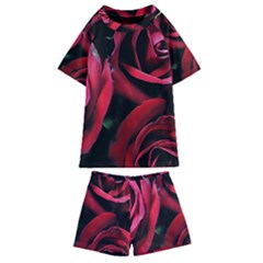 Red Roses Kids  Swim Tee And Shorts Set