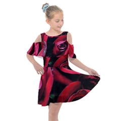 Red Roses Kids  Shoulder Cutout Chiffon Dress