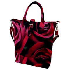 Red Roses Buckle Top Tote Bag