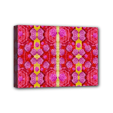 Roses And Butterflies On Ribbons As A Gift Of Love Mini Canvas 7  X 5  (stretched) by pepitasart