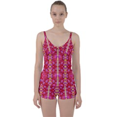 Roses And Butterflies On Ribbons As A Gift Of Love Tie Front Two Piece Tankini