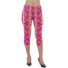 Roses And Butterflies On Ribbons As A Gift Of Love Lightweight Velour Capri Leggings