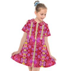 Roses And Butterflies On Ribbons As A Gift Of Love Kids  Short Sleeve Shirt Dress by pepitasart