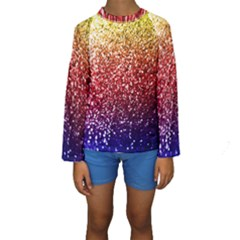Rainbow Glitter Graphic Kids  Long Sleeve Swimwear