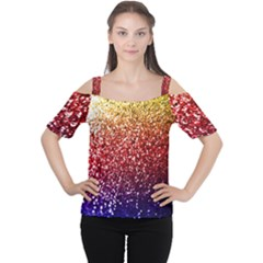 Rainbow Glitter Graphic Cutout Shoulder Tee