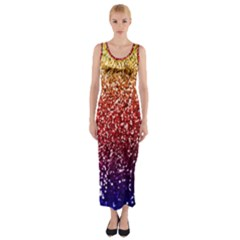 Rainbow Glitter Graphic Fitted Maxi Dress