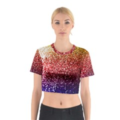 Rainbow Glitter Graphic Cotton Crop Top