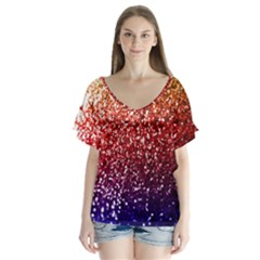 Rainbow Glitter Graphic V Neck Flutter Sleeve Top