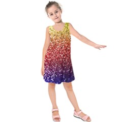 Rainbow Glitter Graphic Kids  Sleeveless Dress