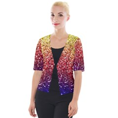 Rainbow Glitter Graphic Cropped Button Cardigan